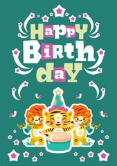 Greeting card happy birthday. Designed for printing invitations, wishes. Music Orchestra. Tiger plays the drum, lion playing the flute. Sprockets, fireworks. Vector illustration