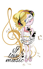 Fashion girl in headphones with a musical treble clef.