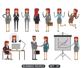 Working people on white background. Vector illustration. Different movements. Create a scene. Business people set 37.