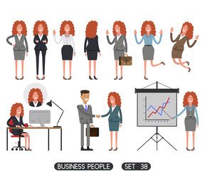 Business people set 38. Working people on white background. Vector illustration. Different movements. Create a scene.