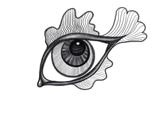 Isolated black and white eye as a fish drawn by pencil