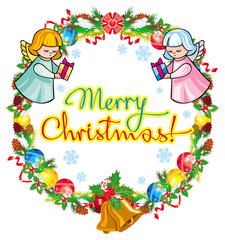 """Round holiday label with angels and greeting text """"Merry Christmas!""""."""