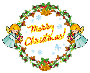 "Round holiday label with angels and greeting text ""Merry Christmas!""."