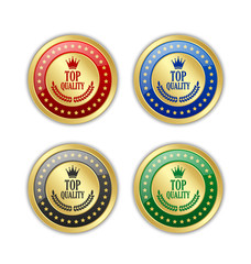 Set of golden Top quality badges on white background