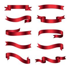 Vector ribbon banners. Set of ten beautiful realistic red ribbons.
