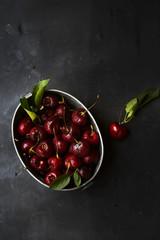 Bowl of cherries, overhead view
