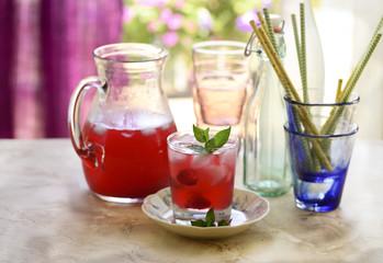 Raspberry lemonade tea, still life