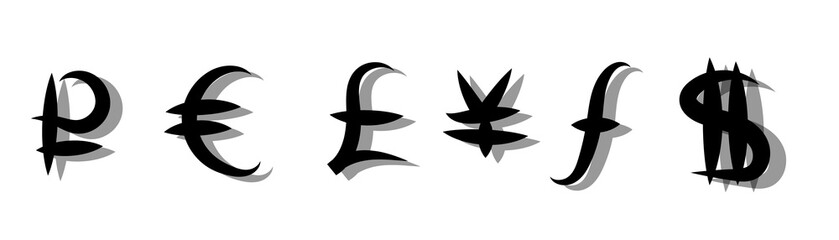 Set of main currency signs. Vector illustration