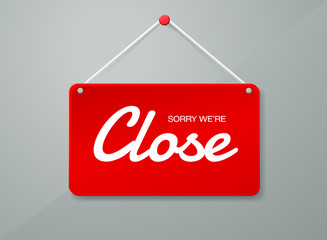 Vector close door sign. Label with text in flat style. Vector il