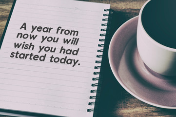 Inspirational quote - A year from now you will wish you had started today. Retro style.