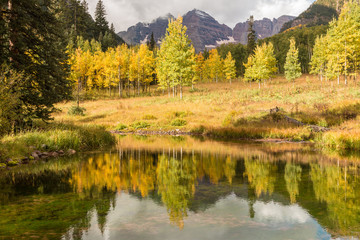 Maroon Bells Fall reflection