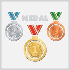 Set of gold medals, silver and bronze