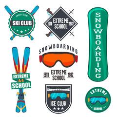 Vintage snowboarding or winter sports badges.