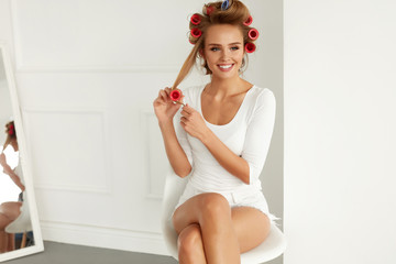 Beautiful Woman With Hair Curlers, Hair Rollers On Healthy Curly