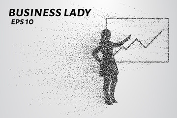Business woman of the particles. The girl shows the chart on the Board. Vector illustration