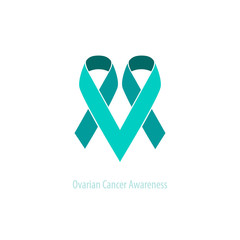 Teal Ribbons Ovarian Cancer Awareness&Support Heart Emblem flat vector design over light background