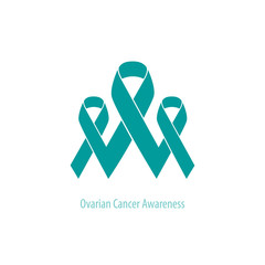 Ovarian Cancer flat group of ribbons connected: concept illustration of support and union