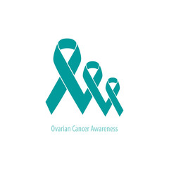 Ovarian Cancer Teal Ribbons flat design: three teal ribbons connected together in decreasing in perspective row