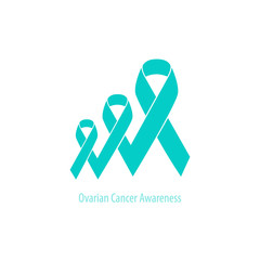 Teal Ribbon Ovarian Cancer flat design cooperated in a row
