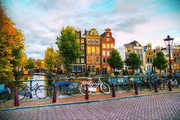 Canvas Prints Amsterdam Amsterdam city view with canals and bridges