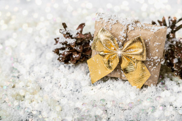 Christmas gift on snowy bright background