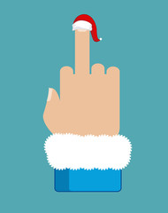 Fuck Santa Claus. Middle finger in red Christmas hat. Aggressive