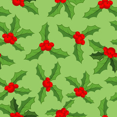 Mistletoe Christmas  pattern. Traditional plant background. Fest