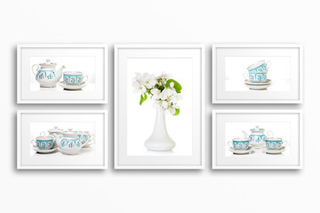 Frames collage with decorative dishes posters