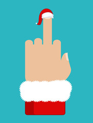Christmas Fuck. Middle finger in red Santa hat. Aggressive symbo
