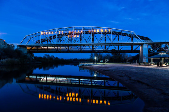 Ocean to Ocean bridge blue with reflection