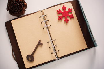 Vintage Notebook of leather cover with antique key