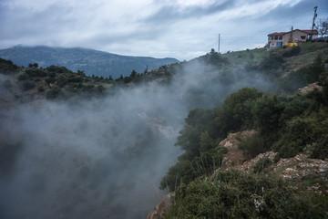 Scenic foggy autumn landscape in mountains near Kalavrita, Pelop