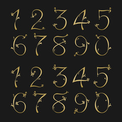 Silhouette numbers set, from one to zero