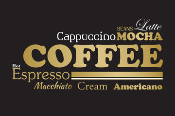 Gold and black coffee wordcloud