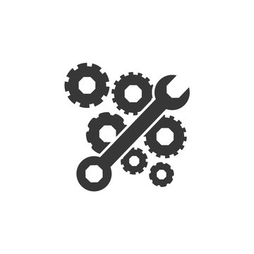 wrench and gears icon. Construction tool repair work and restoration theme. Isolated design. Vector illustration