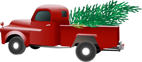 Old vintage red pickup truck carrying a Christmas pine tree in the bed, vector isolated on white