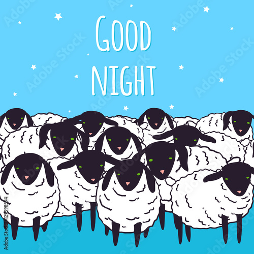 Good night greeting card design vector kawaii baby sheep good night greeting card design vector kawaii baby sheep illustration set farm animals sketch m4hsunfo