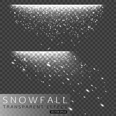 Set of Christmas snowfall isolated on transparent background. Snow, snowflakes, winter sky vector illustration.