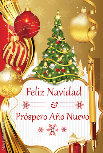 feliz navidad y prospero ano nuevo greeting card with spanish wishes for winter holiday