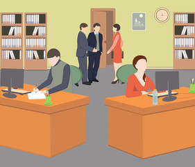 People in room. Office life. Flat style vector illustration. Situation in office. Workplace. Meeting.