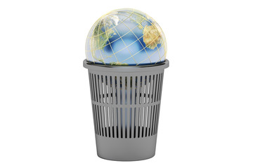 Trash bin with Earth globe, 3D rendering