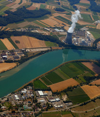 nuclear power plant with a bird's-eye view. pollution of ecology