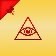 All seeing eye pyramid symbol. Freemason and spiritual. Cristmas