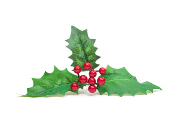 Christmas holiday holly decoration isolated on white background