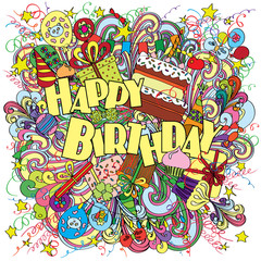 Happy Birthday doodle greeting card on background with celebration elements.