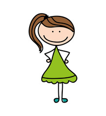 cute kid drawing isolated icon vector illustration design