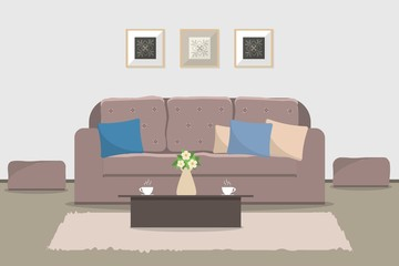 Living room in cocoa color. There is a sofa, a two chairs, table, pictures on the wall. Vector flat illustration