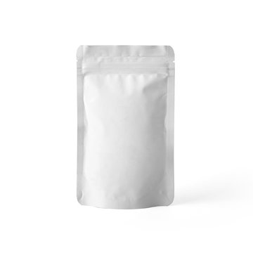 Blank white matte plastic paper pouch bag isolated on white background. Packaging template mockup collection. With clipping Path included.
