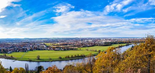 Panorama über Elbe in Dresden