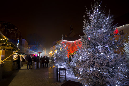 Christmas Market on Gradec square in Zagreb advent evening view